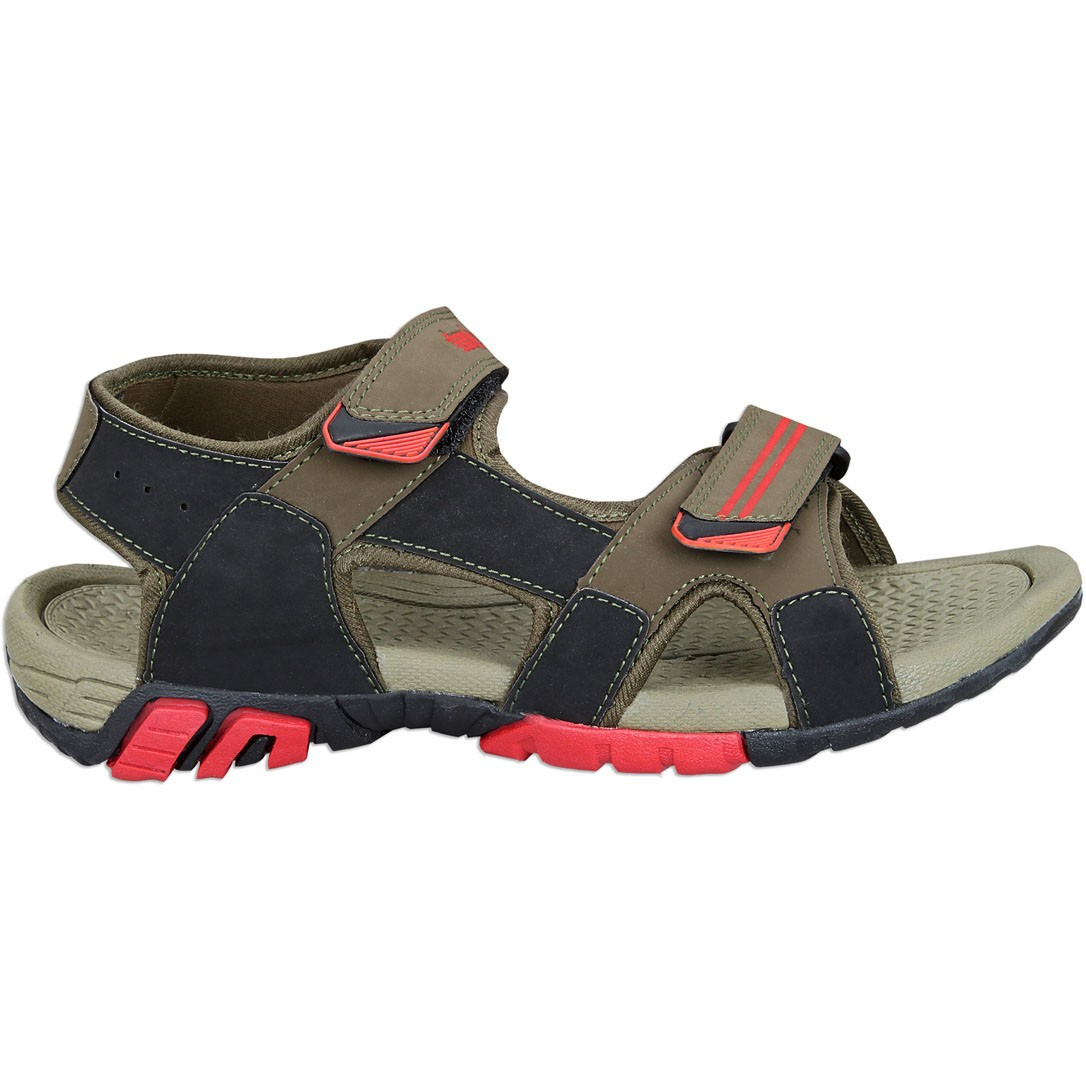 Touch P Sandal 1010 Blk-Olive-Red